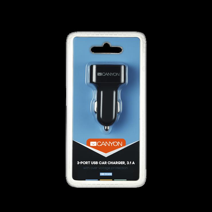 CHARGEUR ALLUME CIGARE 3 X USB 3.1A 12V - NOIR cne-cca06-4