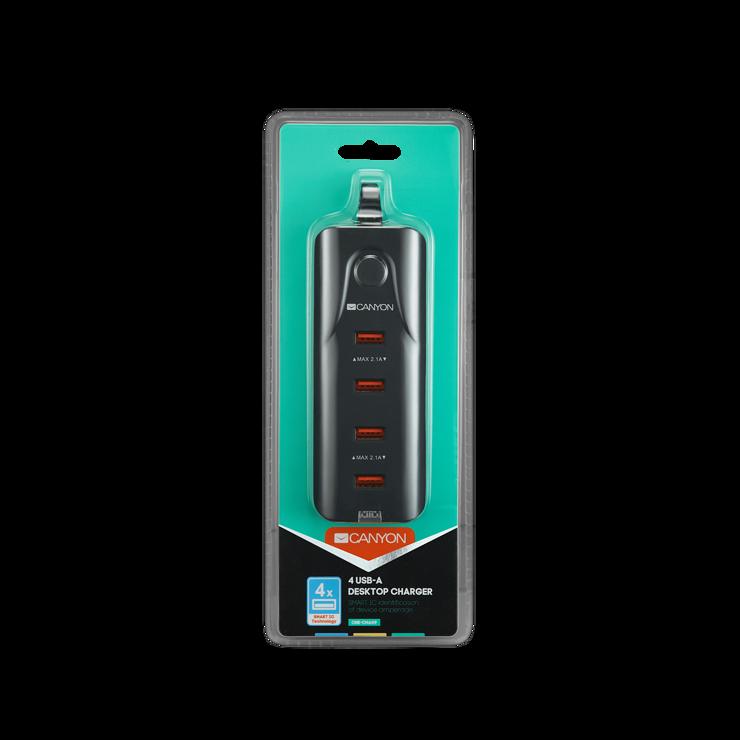 LOT DE 10 MULTIPRISES USB 4 X USB 2.0 4.2A NOIR cne-cha09b-package-front
