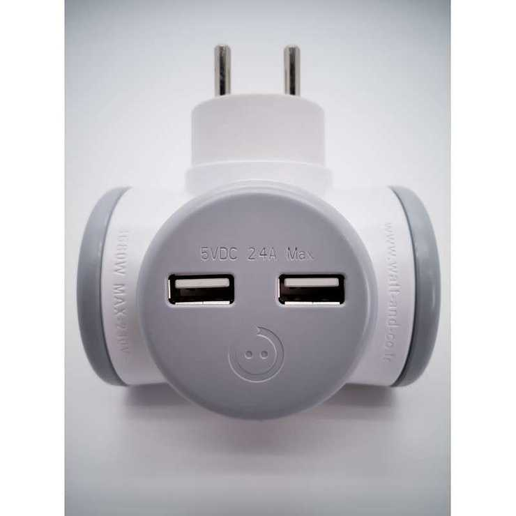 MULTIPRISE ROTATIVE BIPLITE 2x16A 180°+ USB 2,4A GRIS biplite-rotative-double-usb-ultra-rapide1