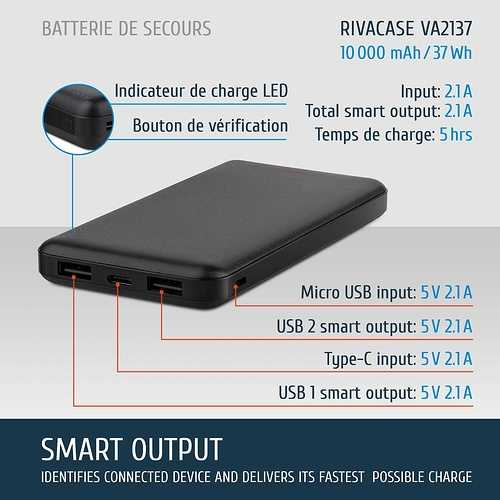 CHARGEUR VA2137 10000 MAH 2.1A USB TYPE C /USB 2.4A 2137fr1