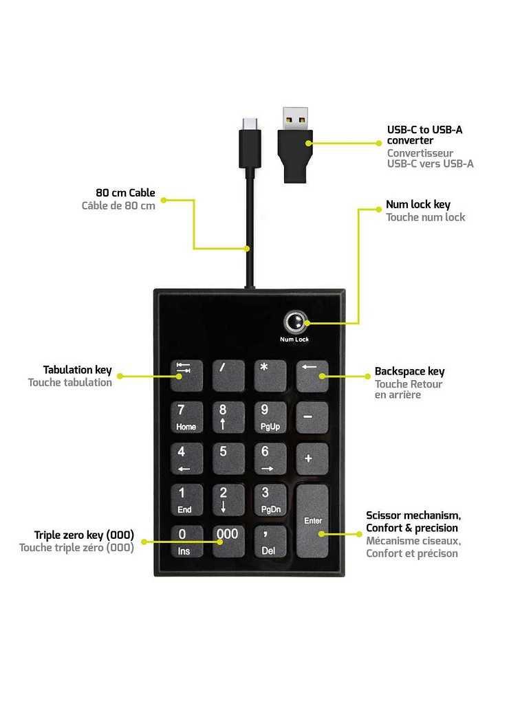PAVE NUMERIQUE USB ET USB TYPE C FILAIRE NOIR numeric-keypad-wired-type-c5
