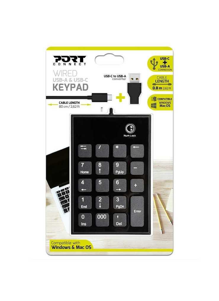 PAVE NUMERIQUE USB ET USB TYPE C FILAIRE NOIR numeric-keypad-wired-type-c