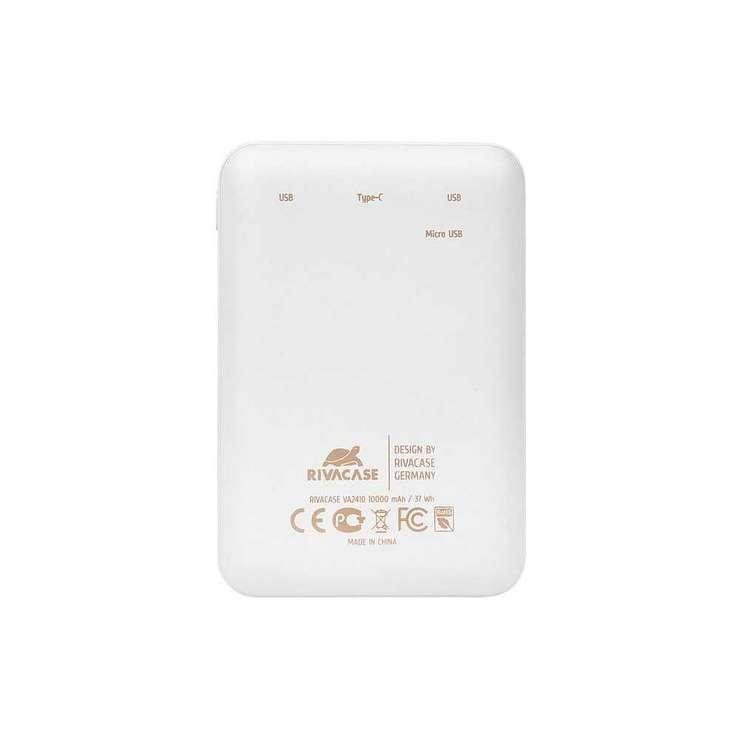 CHARGEUR RIVAPOWER 10000 MAH 2.1A MICRO USB+ TYPE C BLANC va2410white