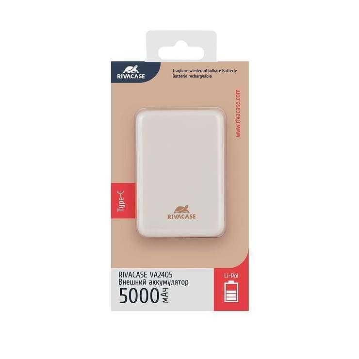 POWERBANK RIVAPOWER 5000 MAH 2.1A MICRO USB+ TYPE C BLANC va2405ru.4260403576366.ver21