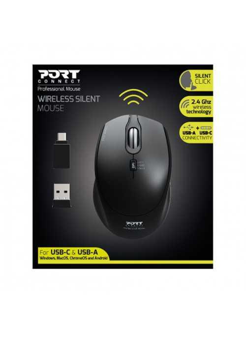 SOURIS SANS FIL SILENCIEUSE USB + TYPE C - NOIR 9007131