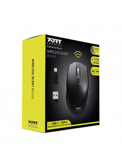 SOURIS SANS FIL SILENCIEUSE USB + TYPE C - NOIR 9007133