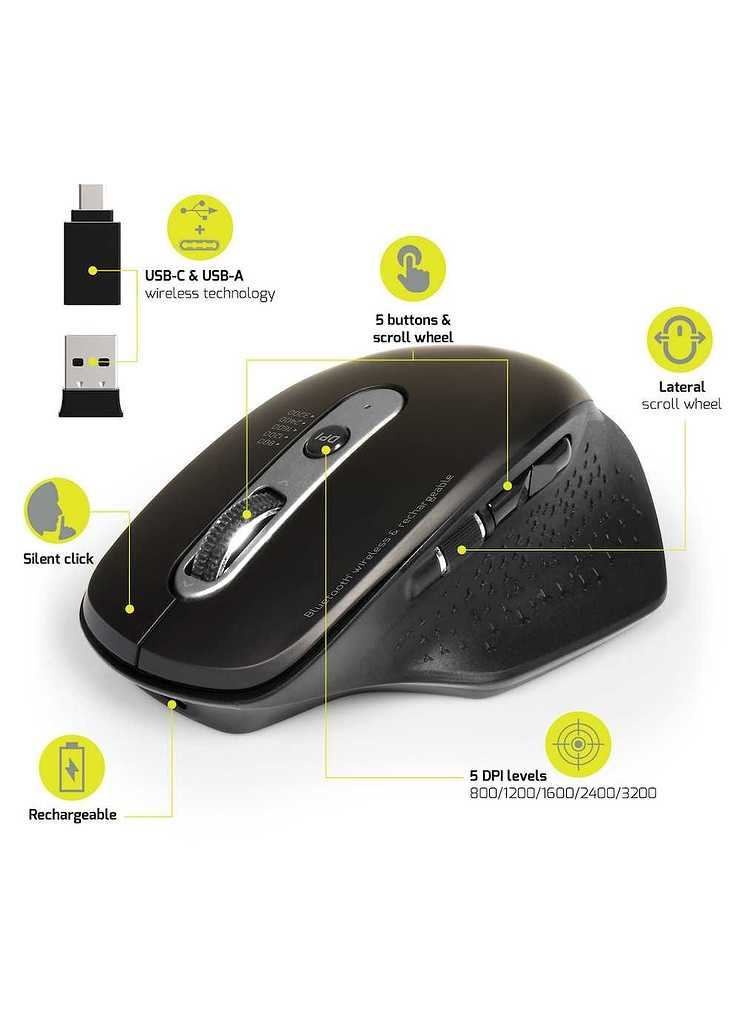 SOURIS PRO SANS FIL SILENCIEUSE RECHARGEABLE / BLUETOOTH USB + TYPE C mouse-rechargeable-bluetooth-combo-expert5