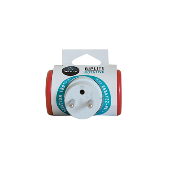 MULTIPRISE BIPLITE ROTATIVE 180° ROUGE mpf2crouct1