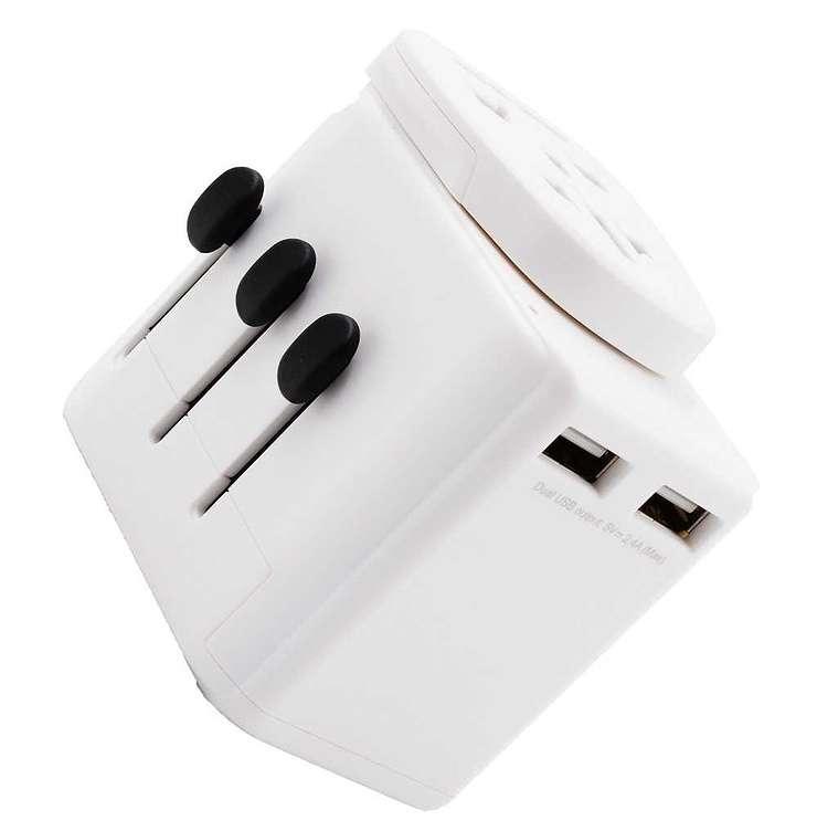 ADAPTATEUR VOYAGE UNIVERSEL 150 PAYS 2 PORTS USB 2.4A adu150pusb22b1
