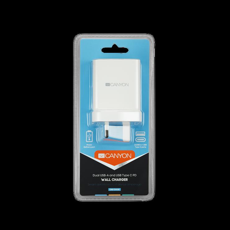 LOT DE 5 CHARGEURS SECTEUR 2 X USB QUICKCHARGE ( X1) + 1 x TYPE C BLANC cne-cha08w-uk-package-front