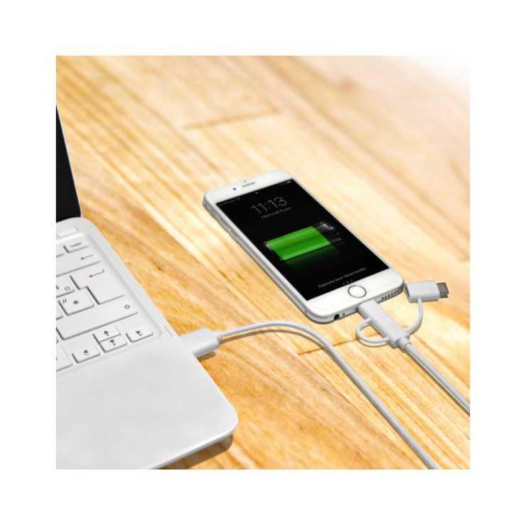 CORDON SYNCHRO + CHARGE 3 IN 1 LIGHTNING + MICRO USB + TYPE C 1,2M 9000751