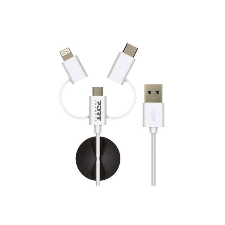 CORDON SYNCHRO + CHARGE 3 IN 1 LIGHTNING + MICRO USB + TYPE C 1,2M 0