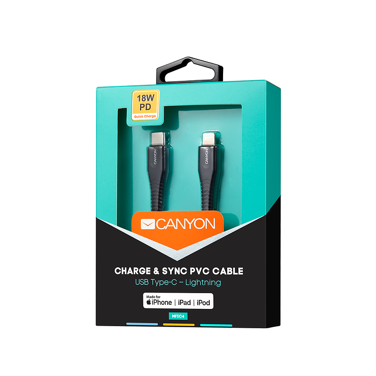 CORDON USB TYPE C USB LIGHTNING 1.2 M - NOIR cns-mfic4b3