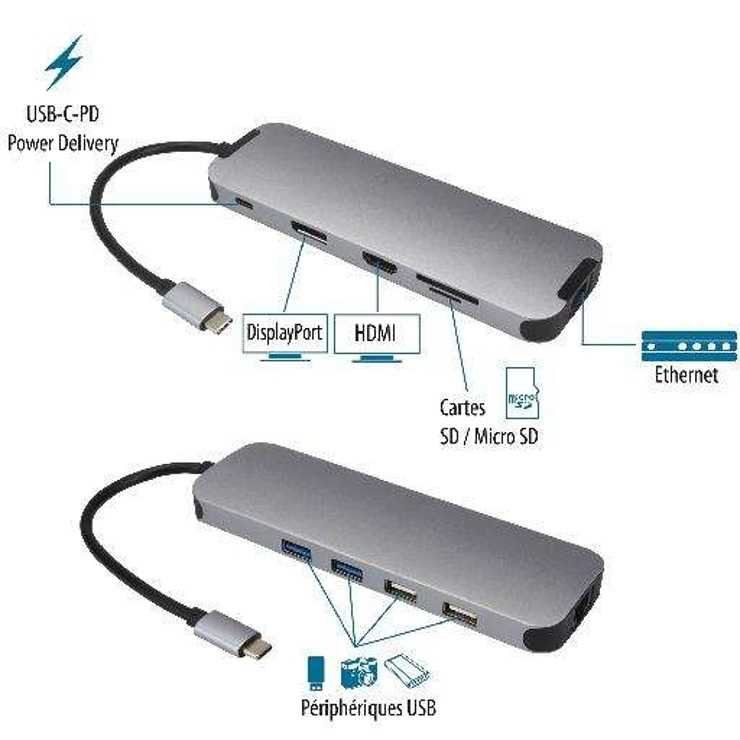 STATION D''ACCUEIL USB TYPE C MULTIPORTS 10 EN 1 BLISTER usb3c-556z5