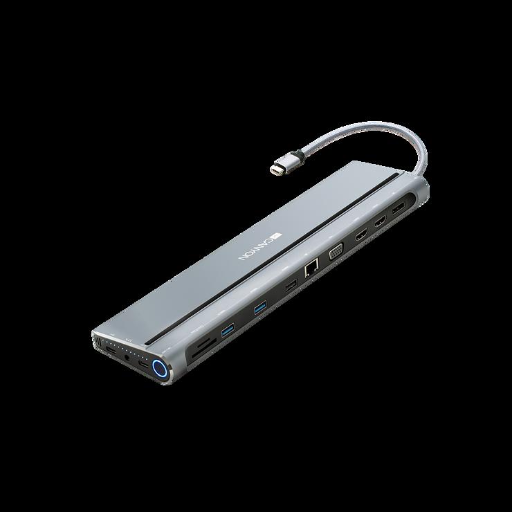 LOT DE 2 STATIONS D''ACCUEIL DS-09 MULTIPORT USB TYPE C 14-EN-1 cns-hds09b2