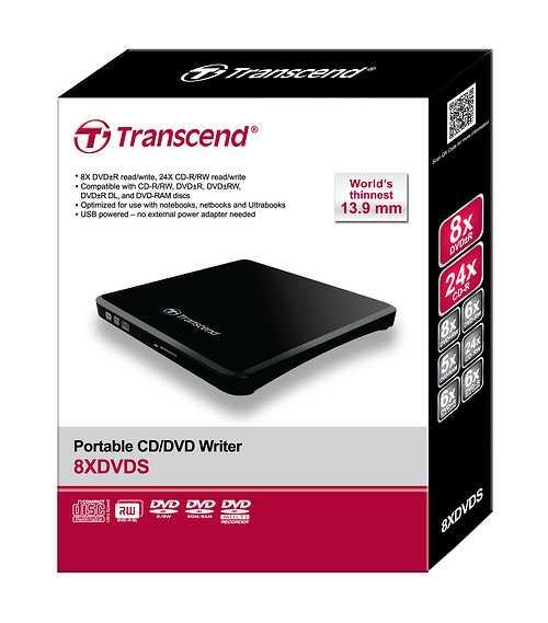 LOT DE 10 GRAVEURS DVD EXTERNE 8X SLIM DOUBLE COUCHE NOIR PORT USB 2.0 ts8xdvds-package