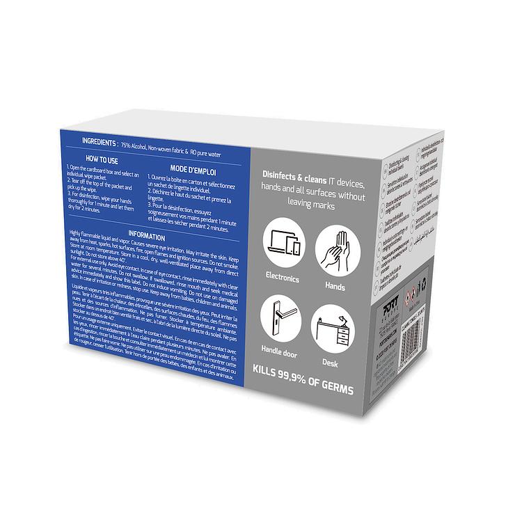 LINGETTES INDIVIDUELLES DÉSINFECTANTES & NETTOYANTES X 30 100309-port-cleaningwipes-back