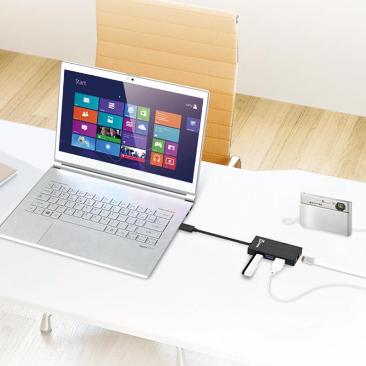 HUB USB 3.0 GIGABIT ETHERNET / HUB 3 PORTS USB 3.0 juh470-b12400x