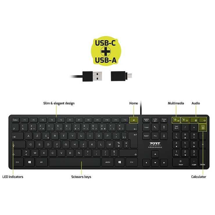CLAVIER FILAIRE USB A + USB TYPE C NOIR AZERTY 900754-fr-port-professionalusbkeyboard-schemaproduitazerty