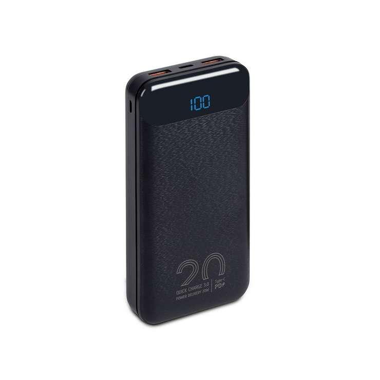 POWERBANK 20000 MAH 2.1A USB/TYPE C/MICRO USB QC ECRAN 0