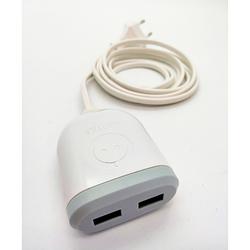 LOT DE 4 CHARGEURS USB 2 PORTS USB AVEC CORDON SECTEUR 3M